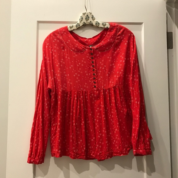 Free People Tops - Free people prairie peasant blouse | red | small